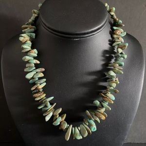 Jewelry - Sterling Silver Green Turquoise Bead Necklace.